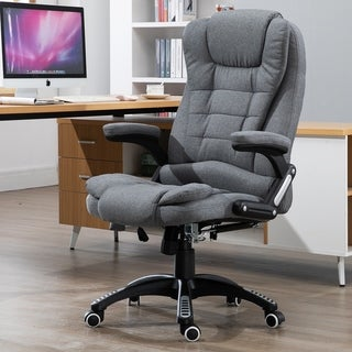 Vinsetto Linen Fabric Adjustable Heated Massage Recliner Office Chair - Dark Grey