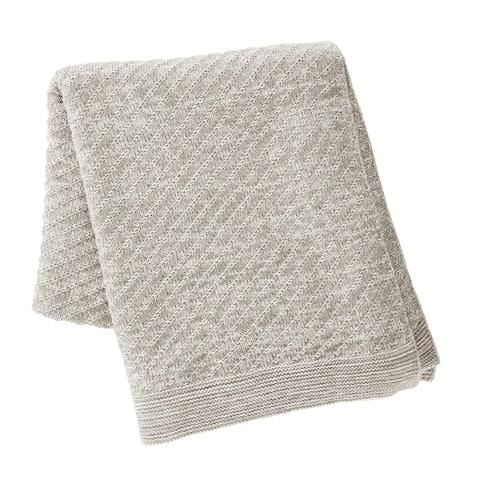 Kenneth Cole New York Grey Knit Throw Blanket