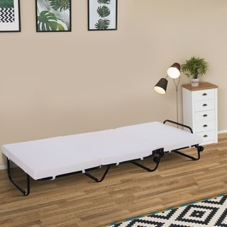 HOMCOM Twin Size Folding Convertible Sleeper Bed Ottoman with Coffee Slipcover