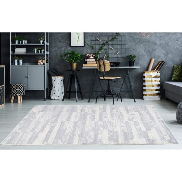 Ladole Rugs IVY12362 Durable Boston Collection Waves Pattern Abstract Area Rug Carpet in Ivory Red Grey 3x10 27 x 910, 80cm x 300cm Ivory//Red//Grey