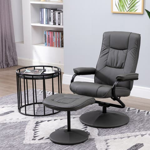 HOMCOM Adjustable Leisure Recliner Chair and Ottoman Set with Swiveling Base, Faux Leather, Grey