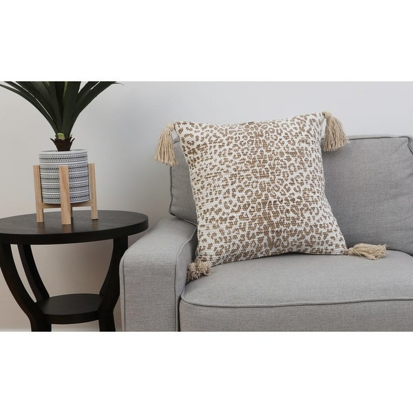 20 PF White Pepper VIOLETTA CHEETAH Franco FXL Tassel Pillow