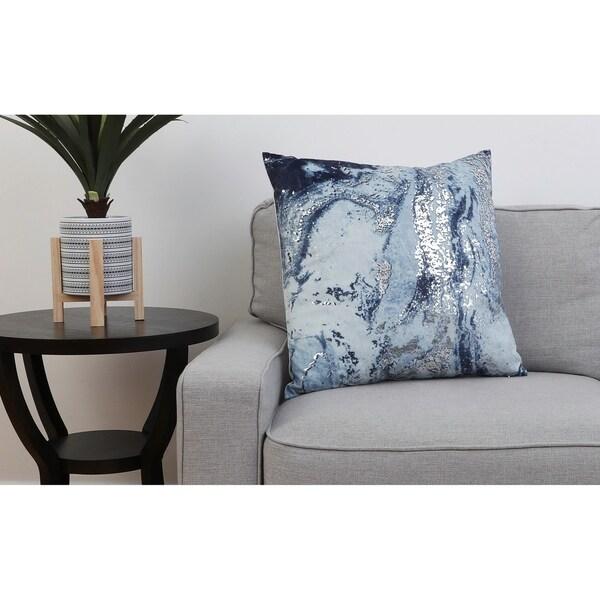 22 PF Midnight Navy Silver MYLES Printed Velvet Pillow