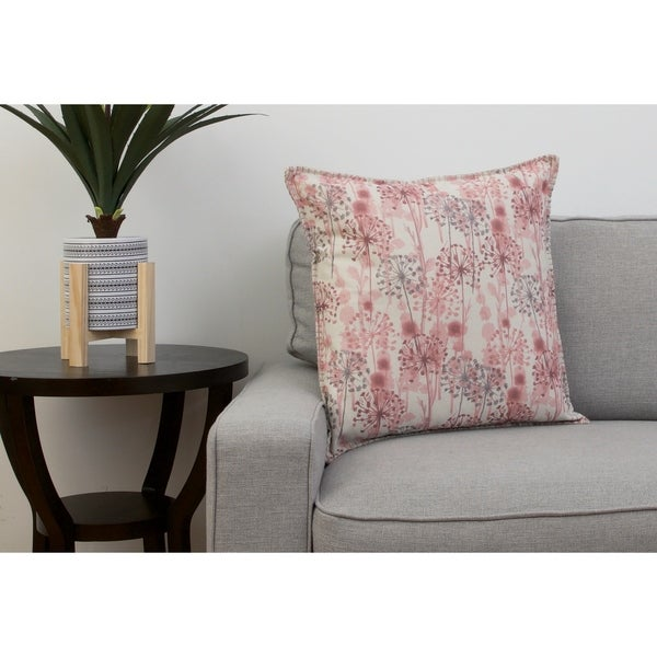20 PF Natural Pink Multi DANDY Floral Printed Faux Linen Whipstitch Pillow