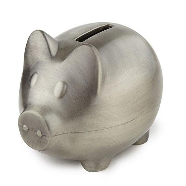 Elegance Piggy Bank Pewter Finish Plain. Opens flyout.