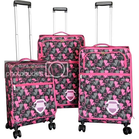 Betty Boop Black & Pink 3-piece Expandable Spinner Luggage Set