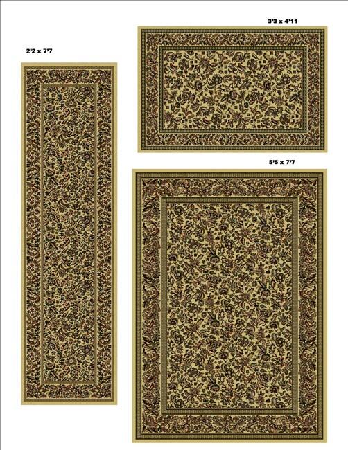Admire Home Living Caroline Floral Ivory Rug Set (Set of 3)