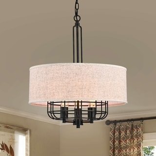 Link to Bernicia Antique Black Metal Chandelier with Tan Burlap Drum Shade Similar Items in Chandeliers