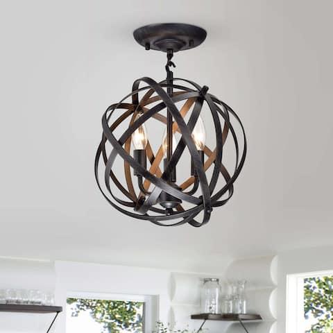 Benita Antique Black 4-Light Metal Globe Flush Mount