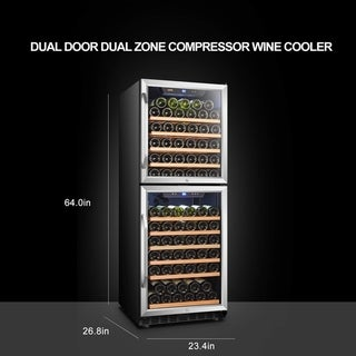 Lanbo Built-in Dual Zone Wine Cooler with Dual Glass Doors, 133 Bottle