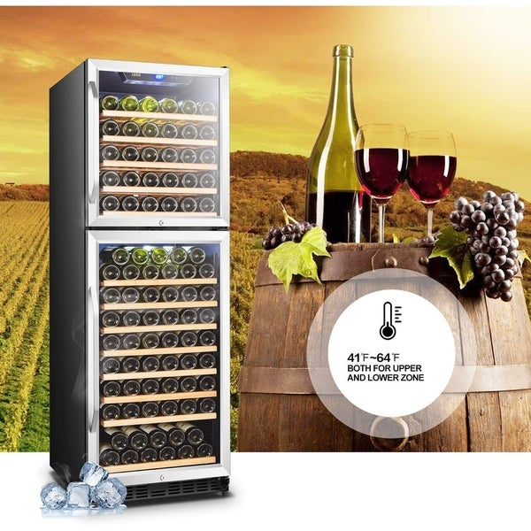 Single Zone Built-in or Freestanding Compressor Red Wine Cooler with Digital Touch Panel and Safety Lock LANBO Wine Chiller Fridge