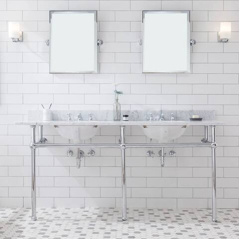 Embassy 72 Inch Wide Double Wash Stand, P-Trap, and Counter Top with Basin included