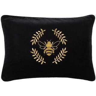 Miele Bumblebee Embroidered Velvet 13x20-inch Lumbar Throw Pillow