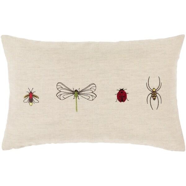 Buzzy Embroidered 13x20-inch Lumbar Linen Blend Pillow