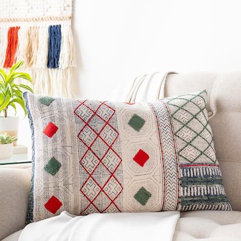 Zillah Geometric Block Print 16x24-inch Lumbar Throw Pillow