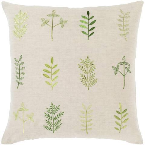 Fernie Embroidered 20-inch Linen Blend Pillow