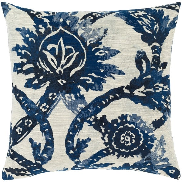 Etta Blue & Ivory Damask Throw Pillow. Opens flyout.