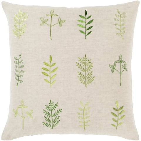 Fernie Embroidered 22-inch Linen Blend Pillow