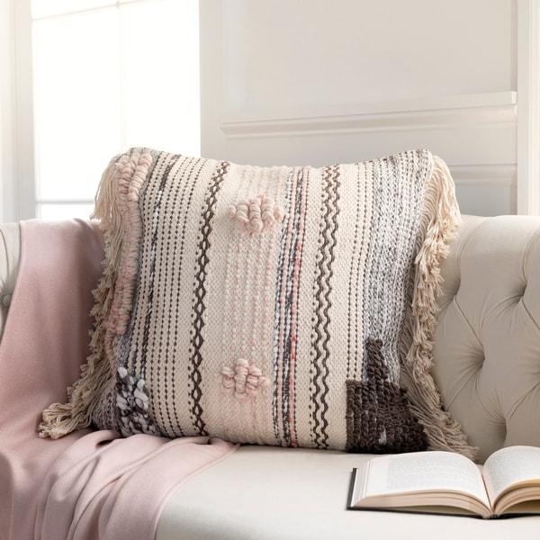 Lucretia Handwoven Bohemian Fringe 14x22-inch Lumbar Throw Pillow
