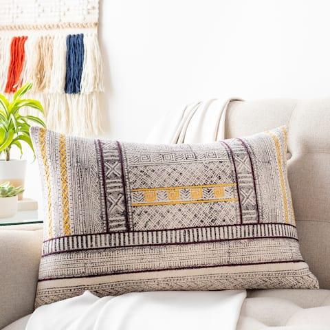 Zillah Tribal Block Print 16x24-inch Lumbar Throw Pillow