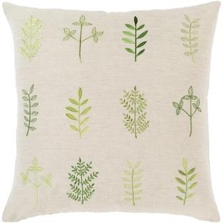 Fernie Embroidered 18-inch Linen Blend Pillow