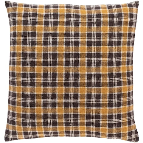 Suri Retro Black Plaid Throw Pillow