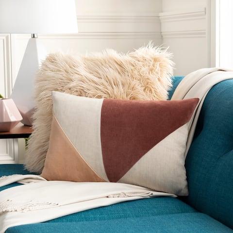 Maiti Cotton Velvet and Linen 13x20-inch Lumbar Throw Pillow