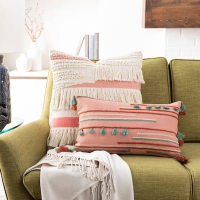 Blanche Embroidered Tassel Boho 14x22-inch Lumbar Throw Pillow