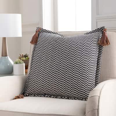 Fabiola Leather Tassels Modern 20-inch Lumbar Throw Pillow