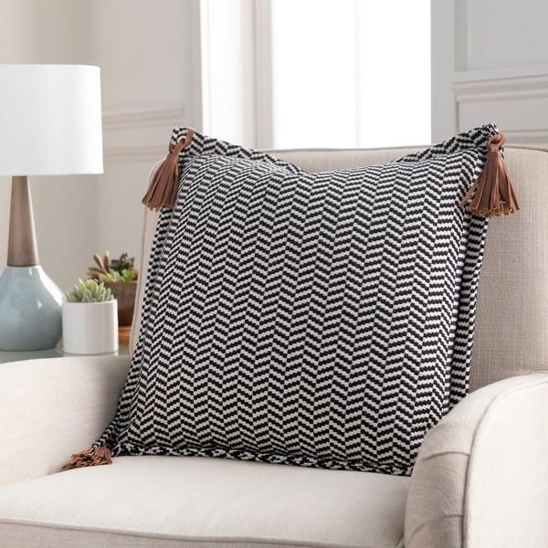 Fabiola Leather Tassels Modern 20-inch Lumbar Throw Pillow. Opens flyout.