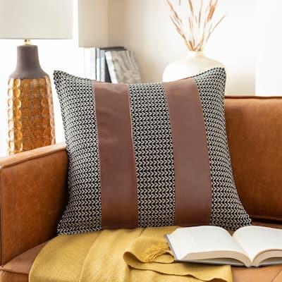 Fabiola Leather Striped Modern 20-inch Throw Pillow