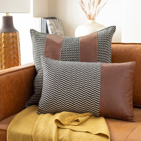 Fabiola Leather Striped Modern 13x20-inch Lumbar Throw Pillow