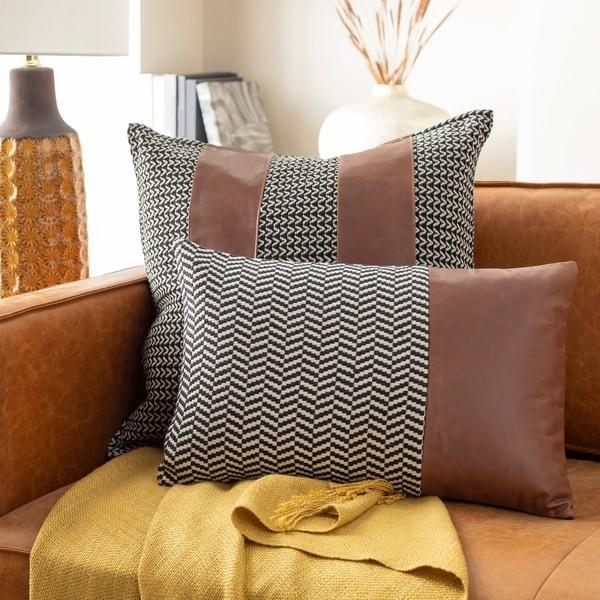 Fabiola Leather Striped Modern 13x20-inch Lumbar Throw Pillow. Opens flyout.
