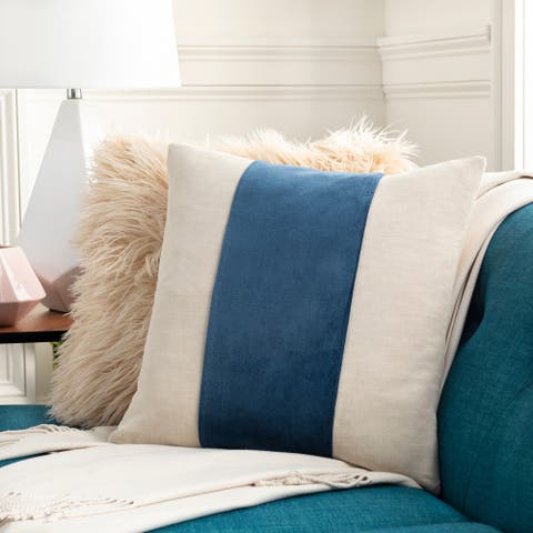 Maiti Cotton Velvet Striped 22-inch Throw Pillow