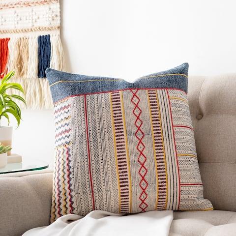 Zillah Denim Block Print 20-inch Throw Pillow