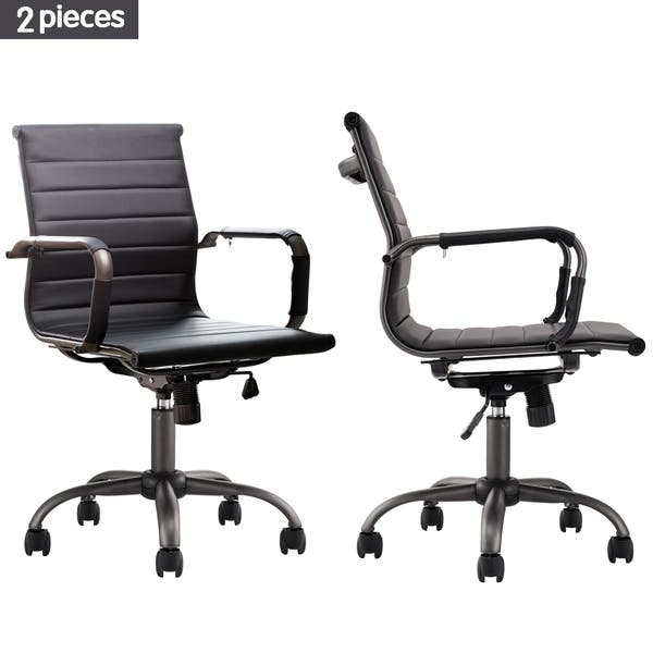 Shop Ovios Ergonomic Office Chair Set Of 2 Leather Computer Chair For Home Office Or Conference Mid Back Swivel Desk Chair With Arms Overstock 30342045