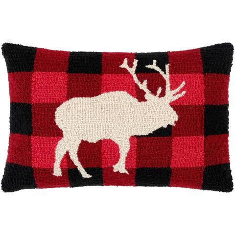 Ciervos Buffalo Plaid Reindeer 14x22-inch Lumbar Throw Pillow