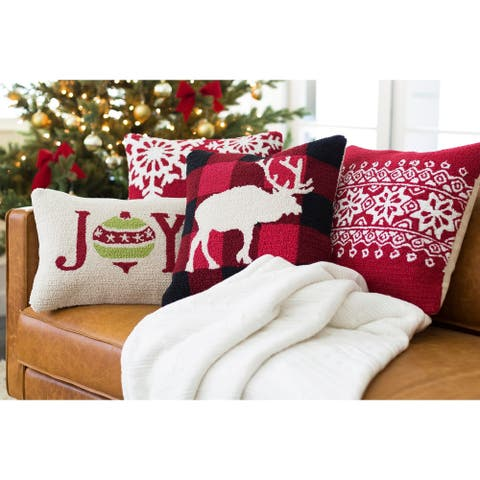Thionville Red Fair Isle Hooked 13x20-inch Lumbar Throw Pillow