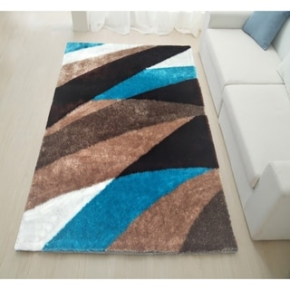 Mateos Shag Collection Blue/Brown Area Rug