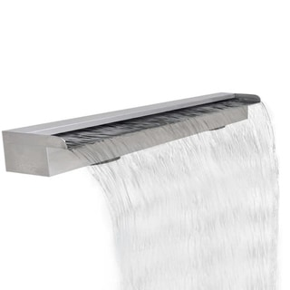 Rectangular Waterfall Pool Fountain Stainless Steel 47.2""