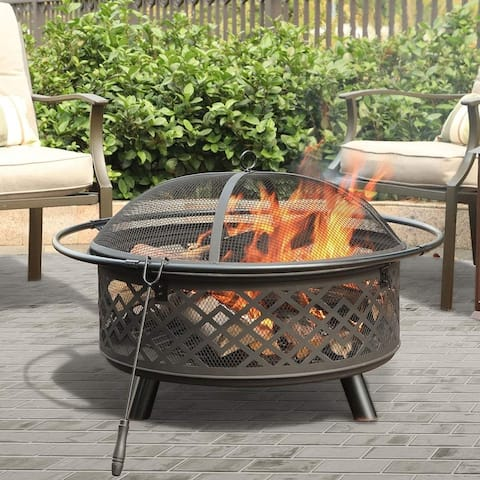 "Danau 32"" Fire Pit with Poker and Spark Screen by Havenside Home"
