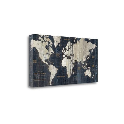 """""""Old World Map Blue"""" By Wild Apple Portfolio, Giclee on Gallery Wrap Canvas"""