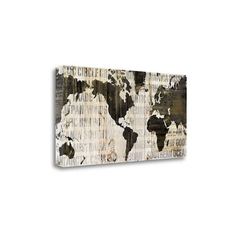 """""""Crate World Map Neutral"""" by Sue Schlabach, Giclee Print on Gallery Wrap Canvas"""