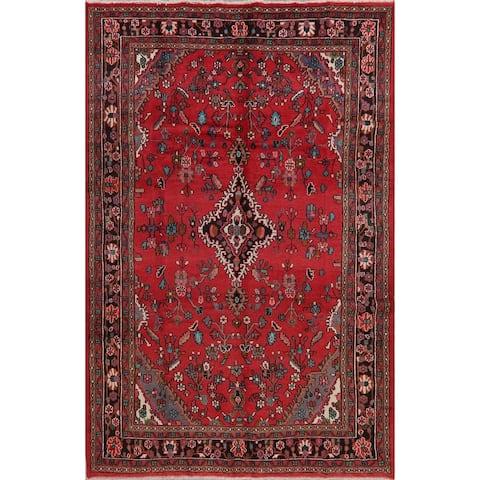 "Vintage Floral Red Hamedan Persian Area Rug Handmade Oriental Carpet - 6'11"" x 10'7"""