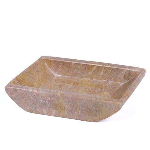 """Creative Home Rose Marble 5-1/8"""" x 4-1/4"""" Boat Shaped Candle Holder Plate"""