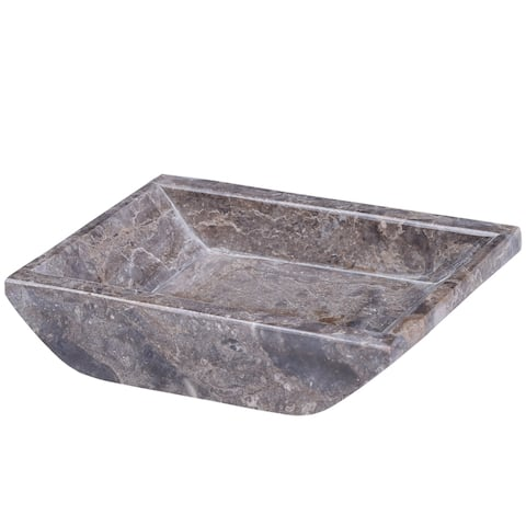 """Creative Home Charcoal Marble 5-1/8"""" x 4-1/4"""" Boat Shaped Candle Holder Plate"""