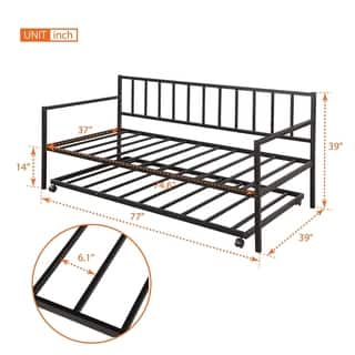 Merax Twin-size Metal Daybed with Trundle and Built-in Casters