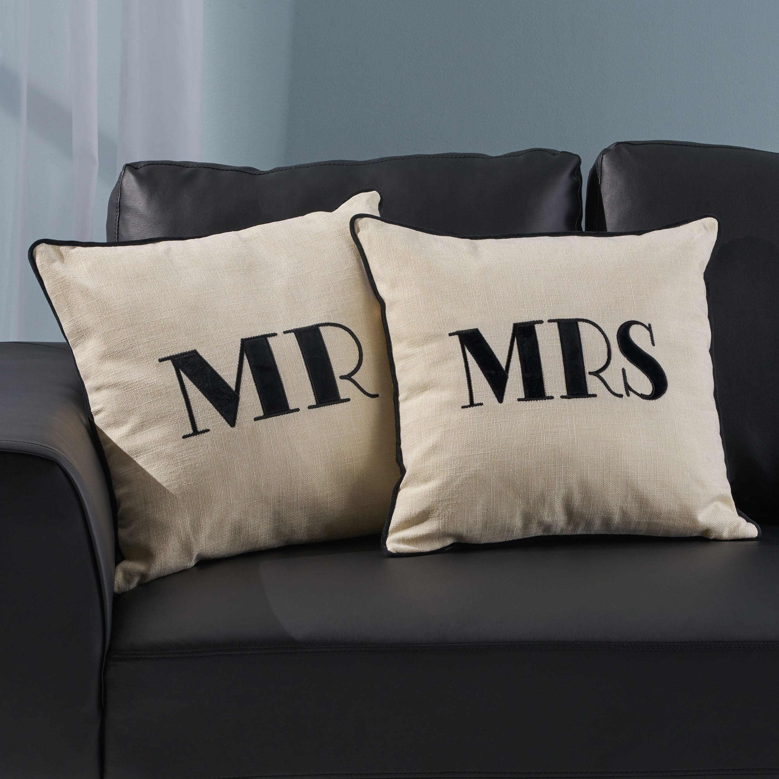 Alvarado Modern Fabric Mr And Mrs Pillow Covers Set Of 2 By Christopher Knight Home On Sale Overstock 30345507