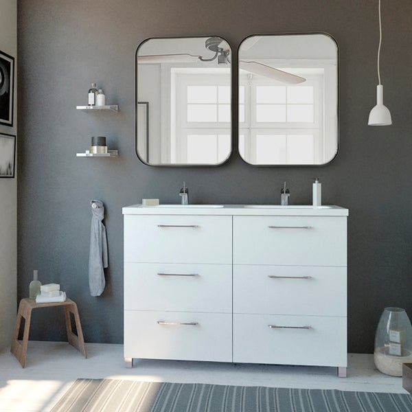 "48"" Double Bathroom Vanity Cabinet Nexo Set   White   Ceramic Sink   6 Drawers   48x33x18. Opens flyout."