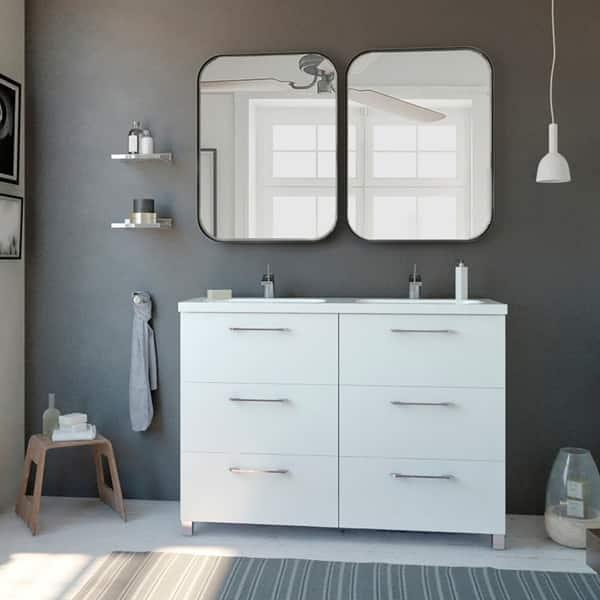 48 Double Bathroom Vanity Cabinet Nexo Set White Ceramic Sink 6 Drawers 48x33x18 On Sale Overstock 30346550